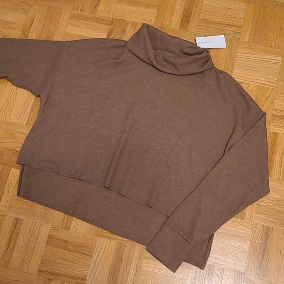 AE hi lo cowl neck waffle sweater
